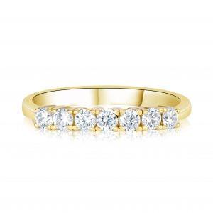 טבעת זהב צהוב עם שורת יהלומים Alexa אלקסה