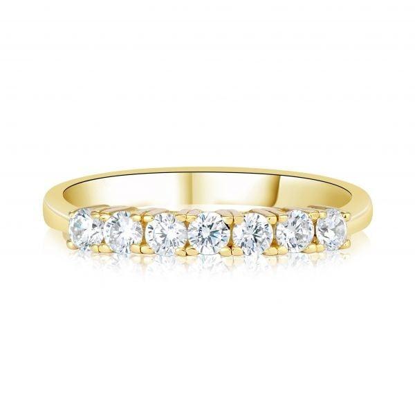 טבעת אירוסין זהב צהוב עם שורת יהלומים Alexa אלקסה