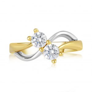 טבעת אירוסין זהב לבן וזהב צהוב Charlote שרלוט