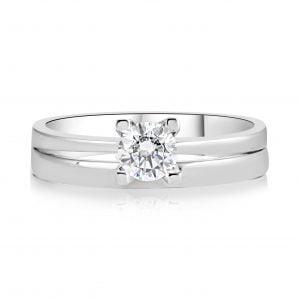 טבעת אירוסין סליטר עדינה וקלאסית זהב לבן Eleanor אלינור