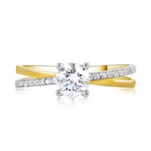 טבעת אירוסין סוליטר מיוחדת זהב צהוב / לבן Violet ויולט