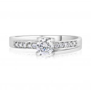 טבעת אירוסין מעוצבת זהב לבן עדינה Claire קלייר