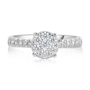 טבעת אירוסין זהב לבן עדינה וקלאסית ויקטוריה Victoria