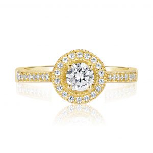 טבעת אירוסין מעוצבת יוקרתית זהב צהוב לינוי LINOY