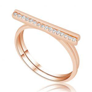 טבעת עם יהלומים בשורה Leah לאה