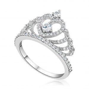 טבעת אירוסין זהב לבן מיוחדת יוקרתית Queen קווין