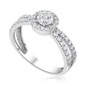 טבעת אירוסין יוקרתית זהב לבן עדינה Arianna אריאנה