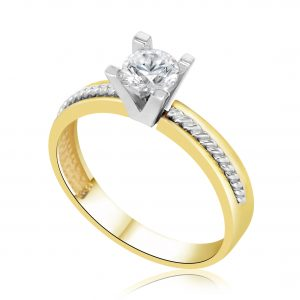 טבעת אירוסין סוליטר מיוחדת זהב צהוב / לבן Hailee היילי