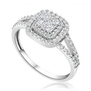 טבעת אירוסין מרובעת יוקרתית זהב לבן Aria אריא