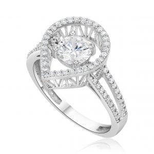 טבעת אירוסין מיוחדת זהב לבן יוקרתית Mia מיה
