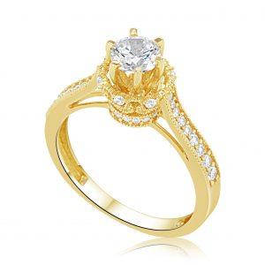טבעת אירוסין 1 קארט זהב צהוב יוקרתית קראון Crown