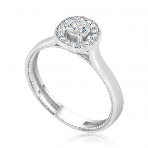טבעת אירוסין עדינה זהב לבן Emily אמילי