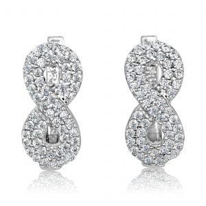 עגילי יהלומים צמודים Double Infinity דאבל אינפיניטי