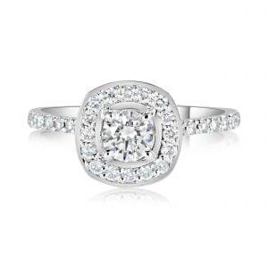 טבעת אירוסין יהלומים זהב לבן עדינה וקלאסית Demi דמי