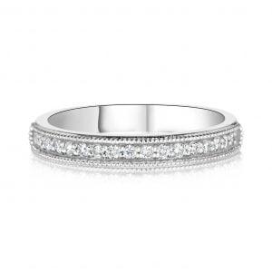 טבעת אירוסין מיוחדת זהב לבן שורת יהלומים LIA ליה