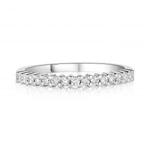 טבעת אירוסין זהב לבן יהלומים שורה Julia ג'וליה