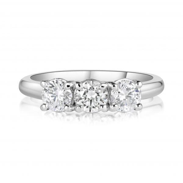 טבעת אירוסין 3 יהלומים זהב לבן Alizabeth אליזבת'