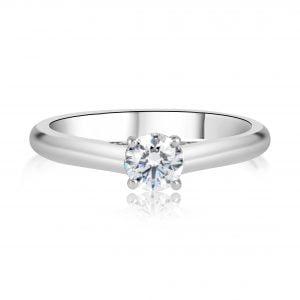טבעת אירוסין סוליטר מיוחדת וקלאסית זהב לבן Kate קייט