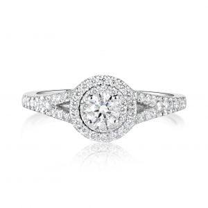 טבעת אירוסין זהב לבן קלאסית ועדינה Adelyn אדלין