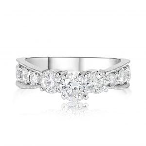 טבעת אירוסין 3 יהלומים זהב לבן Raina ריינה