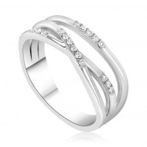 טבעת אירוסין מעוצבת זהב לבן עדינה Veronica ורוניקה