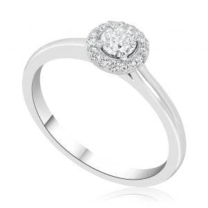 טבעת אירוסין סוליטר עדינה וקלאסית זהב לבן April אפריל