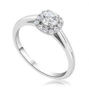 טבעת אירוסין סוליטר משובצת יהלומים זהב לבן Kristen קריסטן