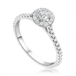 טבעת אירוסין זהב לבן קלאסית Holly הולי