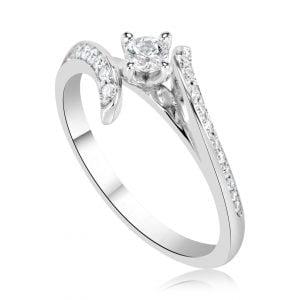 טבעת אירוסין סוליטר מעוצבת זהב לבן Liana ליאנה