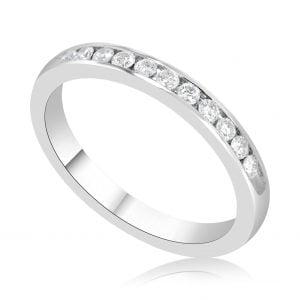 טבעת אירוסין זהב לבן עדינה שורת יהלומים Lydia לידיה