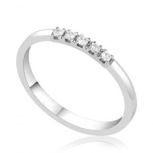טבעת אירוסין יהלומים שורה עדינה Ariel אריאל
