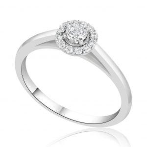 טבעת אירוסין סוליטר משובצת יהלומים זהב לבן Angela אנג'לה
