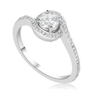 טבעת אירוסין יוקרתית זהב לבן מעוצבת Natalia נטליה