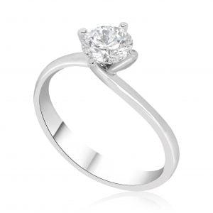 טבעת אירוסין סוליטר יוקרתית זהב לבן Allison אליסון