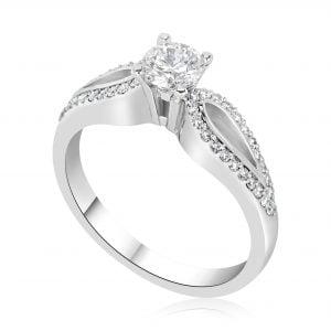 טבעת אירוסין סוליטר מעוצבת זהב לבן Stella סטלה