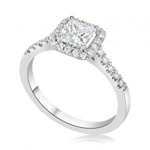 טבעת אירוסין יוקרתית זהב לבן מעוצבת Jessie ג'סי