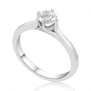 טבעת אירוסין סוליטר מעוצבת זהב לבן Kori קורי