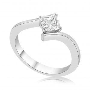 טבעת אירוסין סוליטר זהב לבן Dorothy דורותי