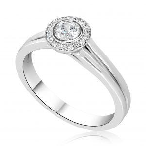 טבעת אירוסין עדינה זהב לבן Noya נויה