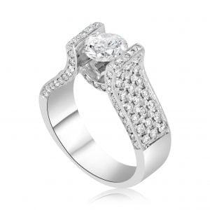 טבעת אירוסין יוקרתית זהב לבן Alianna אליאנה