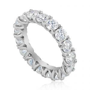 טבעת אירוסין מעוצבת יוקרתית עם שורת יהלומים זהב לבן Kendall קנדל
