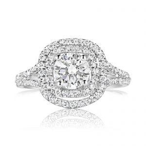 טבעת אירוסין מרובעת יוקרתית זהב לבן Kathryn קת'רין