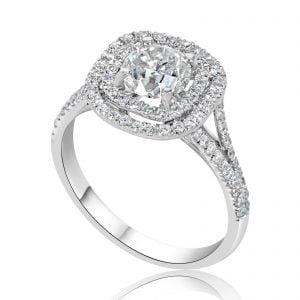 טבעת אירוסין מרובעת מעוצבת זהב לבן Lexi לקסי