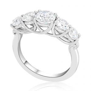 טבעת אירוסין זהב לבן יוקרתית michal מיכל 5 יהלומים