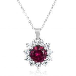 שרשרת יהלומים עם אבן חן רובי Kylie – קיילי