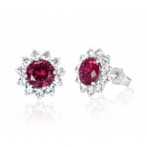 עגילי יהלומים עם אבן חן רובי – Selena – סלנה
