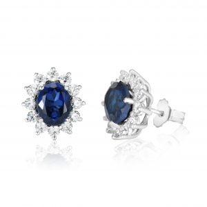 עגילי יהלומים עם אבן חן ספיר – Margaret – מרגרט