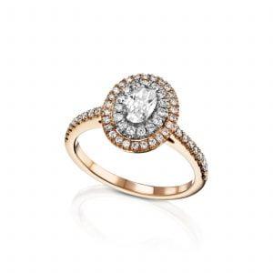 טבעת אירוסין 1 קארט זהב לבן יוקרתית SABRINA סברינה
