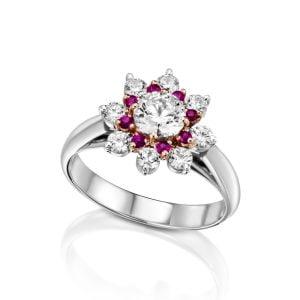 טבעת אירוסין 1 קארט זהב לבן יוקרתית AGNES אגנס