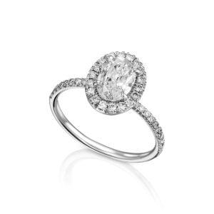 טבעת אירוסין 1 קארט זהב לבן יוקרתית ARMINA ארמינה